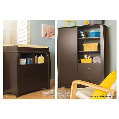 South Shore Beehive Changing Table and Armoire, Espresso, 39.50