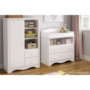 "South Shore Heavenly Changing Table and Armoire, Pure White, 35.50"" (L) x 19.50"" (D) x 52.25"" (H)"