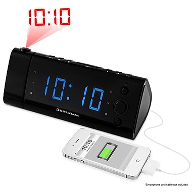 Electrohome Projection Eaac475 Usb Charging Alarm Clock Radio With Time