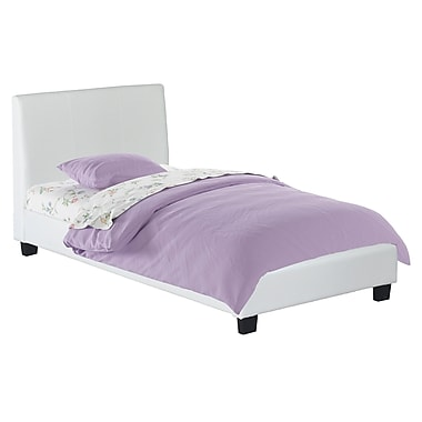 CorLiving BIM-919-S San Diego Leatherette Upholstered Single/Twin Bed, White