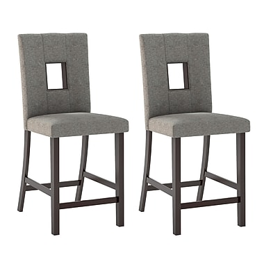 CorLiving DIP-420-C Bistro Dining Chairs in Grey Sand, Set of 2