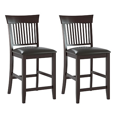CorLiving DKR-308-C Bistro Dining Chairs in Chocolate Black Bonded Leather, Set of 2
