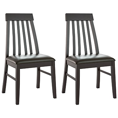 CorLiving DKR-609-C Tapered Back Dining Chairs in Chocolate Black Bonded Leather, Set of 2