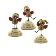 Blossom Bucket 3 Piece ''Winter and Twee tings'' Birds on Base Figurine Set