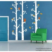 Pop Decors Birch Trees and Owl Removable Vinyl Art Wall Decal