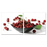 Artistic Bliss Cherries And Cherry Bowl 2 Piece Framed Photographic Print Set