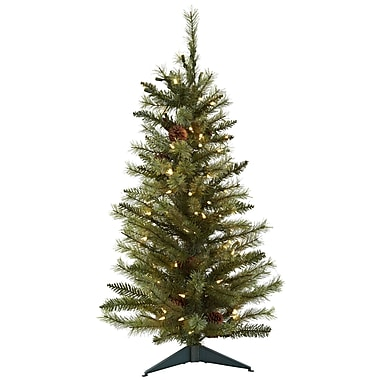 Nearly Natural 36'' Pine Green Artificial Christmas Tree w/ 100 Clear Lights