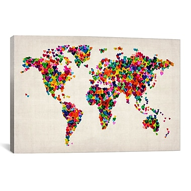 iCanvas 'World Map Hearts II' by Michael Tompsett Graphic Art on Canvas; 26'' H x 40'' W x 0.75'' D