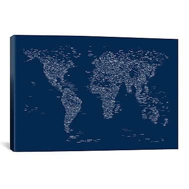 iCanvas Font World Map by Michael Tompsett Graphic Art on Wrapped Canvas in Blue