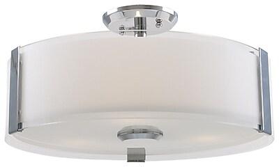DVI Zurich 3-Light Semi Flush Mount; Chrome