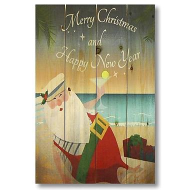 Gizaun Art 4 Piece Wile E. Wood Merry Christmas Beach Santa Graphic Art Set