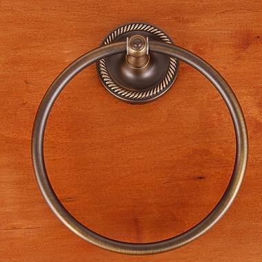 Rk International RB Series Wall Mounted Rope Base Towel Ring; Antique English