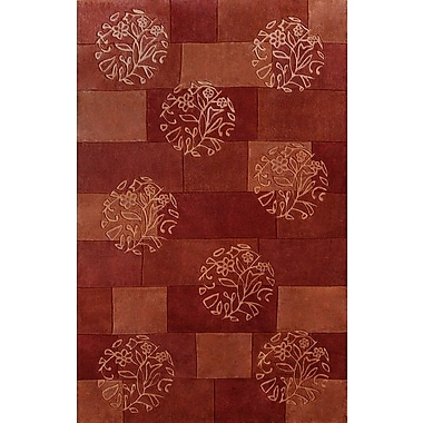 Dynamic Rugs Symphony Red Floral Circles Area Rug; 6'7'' x 9'6''