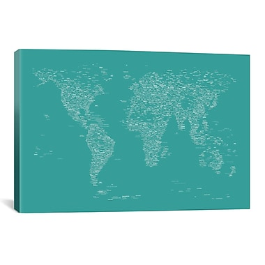 iCanvas Font World Map by Michael Tompsett Graphic Art on Wrapped Canvas in Green
