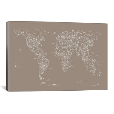 iCanvas Font World Map by Michael Tompsett Graphic Art on Wrapped Canvas in Gray