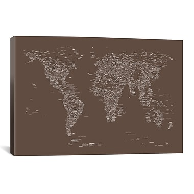 iCanvas Font World Map by Michael Tompsett Graphic Art on Wrapped Canvas; 18'' H x 26'' W x 1.5'' D