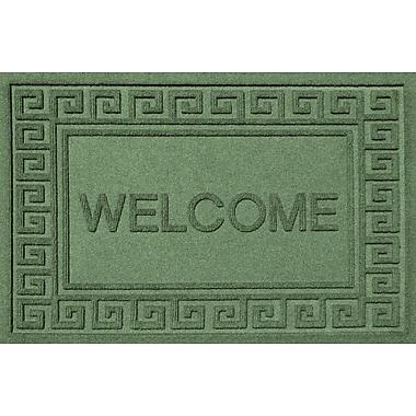 Bungalow Flooring Aqua Shield Greek Key Welcome Doormat; Light Green