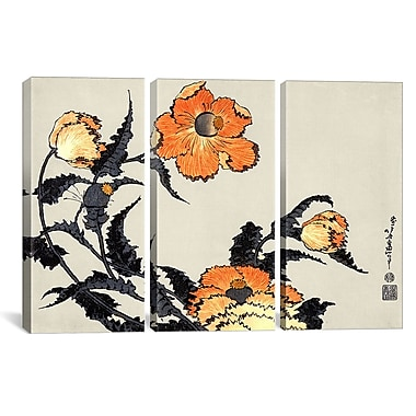 iCanvas Ando Hiroshige Poppies by Katsushika Hokusa Print Multi-Piece Image on Wrapped Canvas