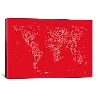 iCanvas Font World Map by Michael Tompsett Graphic Art on Wrapped Canvas in Red