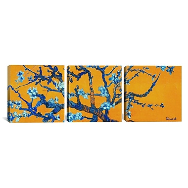iCanvas Almond Blossom by Vincent van Gogh 3 Piece Painting Print on Wrapped Canvas Set in Orange