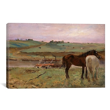 iCanvas ''Horses in a Meadow 1871'' by Edgar Degas Painting Print on Wrapped Canvas