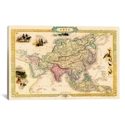 iCanvas 'Antique Map of Asia (1851)' by John Tallis Graphic Art on Canvas in Beige