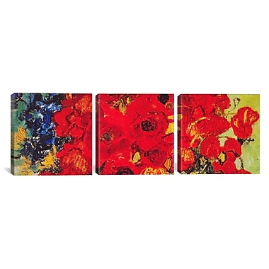 iCanvas Vase w/ Daisies and Poppies by Vincent van Gogh 3 Piece Painting Print on Wrapped Canvas Set