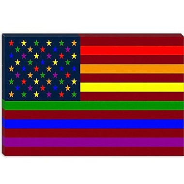 iCanvas American Rainbow Flag, Gay Lesbian Rights Graphic Art on Canvas; 26'' H x 40'' W x 0.75'' D