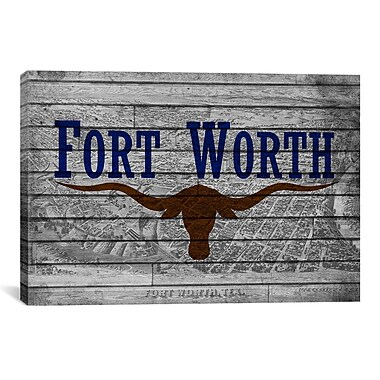iCanvas Fort Worth, Texas Flag - Grunge Vintage Map Graphic Art on Canvas; 8'' H x 12'' W x 0.75'' D
