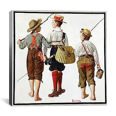 iCanvas 'The Fishing Trip' by Norman Rockwell Painting Print on Canvas; 12'' H x 12'' W x 0.75'' D
