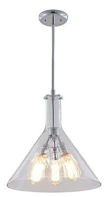 DVI Claire 3-Light Pendant; Chrome