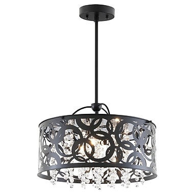 DVI Woodstock 3-Light Drum Pendant; Ebony