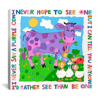 iCanvas ''I Never Saw a Purple Cow'' Canvas Wall Art by Cheryl Piperberg; 12'' H x 12'' W x 1.5'' D