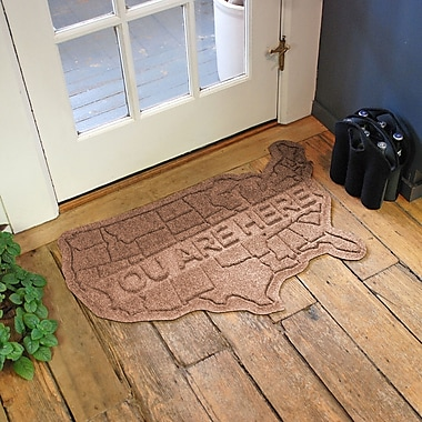 Bungalow Flooring Aqua Shield USA Map Doormat; Medium Brown