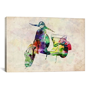 iCanvas ''Scooter Vespa (Urban)'' by Michael Tompsett Graphic Art on Wrapped Canvas
