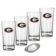 Kraftware Collegiate 16 Oz. Pint Sports Glasses (Set of 4); Georgia