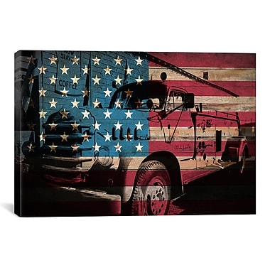 iCanvas Firefighters Vintage Fire Truck USA Flag Graphic Art on Canvas; 18'' H x 26'' W x 0.75'' D