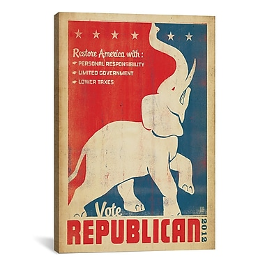 iCanvas Anderson Design Group 'Vote Republican' Graphic Art on Canvas; 18'' H x 12'' W x 1.5'' D