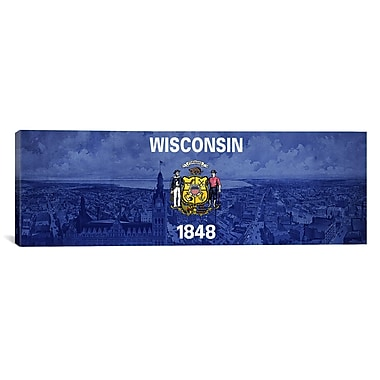 iCanvas Wisconsin Flag, Vintage Skyline Panoramic Graphic Art on Wrapped Canvas