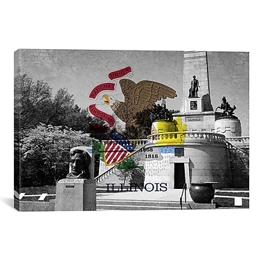 iCanvas Illinois Flag, Lincoln Tomb, Springfield Graphic Art on Canvas; 26'' H x 40'' W x 0.75'' D
