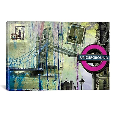 iCanvas ''London Underground'' by Luz Graphics Painting Print on Canvas; 18'' H x 26'' W x 1.5'' D