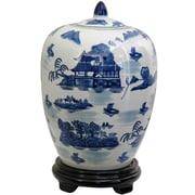 Oriental Furniture Vase Jar w/ Blue Landscape Design in White