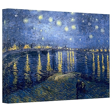 ArtWall 'Starry Night over the Rhone' by Vincent van Gogh Painting Print on Canvas; 16'' H x 24'' W