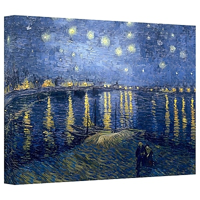 ArtWall 'Starry Night over the Rhone' by Vincent van Gogh Painting Print on Canvas; 12'' H x 18'' W
