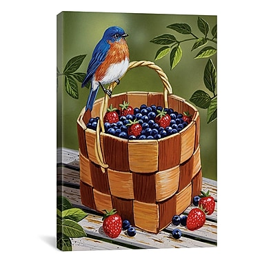 iCanvas 'Blueberry Basket' by William Vanderdasson Graphic Art on Canvas; 18'' H x 12'' W x 1.5'' D