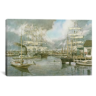 iCanvas 'Generic Seaport' by Stanton Manolakas Painting Print on Canvas; 26'' H x 40'' W x 0.75'' D