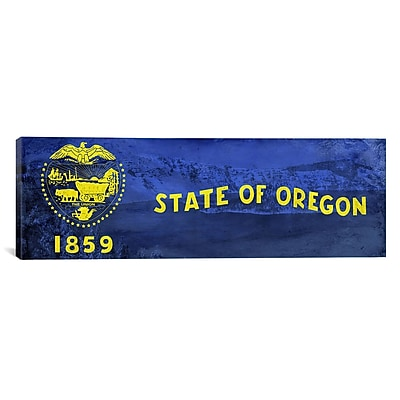 iCanvas Oregon Flag, Oregon Crater Lake Panoramic Graphic Art on Canvas; 12'' H x 36'' W x 0.75'' D