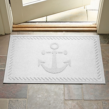 Bungalow Flooring Aqua Shield Ship's Anchor Doormat; White