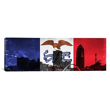 iCanvas Iowa Flag, Des Moines Cityscape Panoramic Graphic Art on Canvas; 12'' H x 36'' W x 1.5'' D