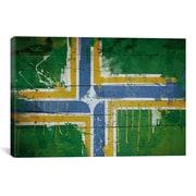 iCanvas Portland Flag, Planks w/ Splatters Graphic Art on Canvas; 18'' H x 26'' W x 1.5'' D